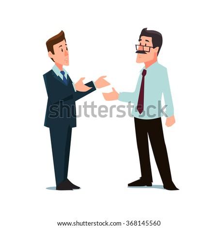 cartoon characters, businessmen, collaboration, teamwork negotiation, vector illustration - stock vector