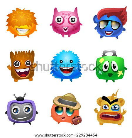 Cartoon characters. Funny cute monsters. Vector eps 10. - stock vector