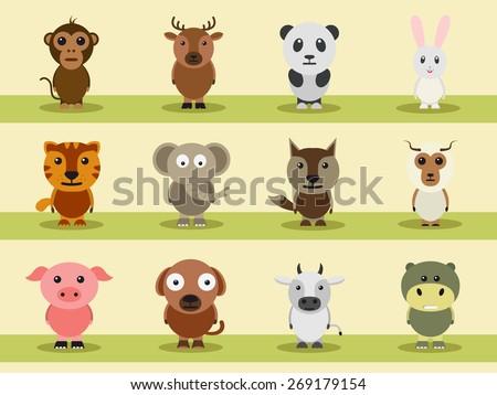 Cartoon characters of wild and pet animals like monkey, reindeer, panda, rabbit, tiger, elephant etc. - stock vector