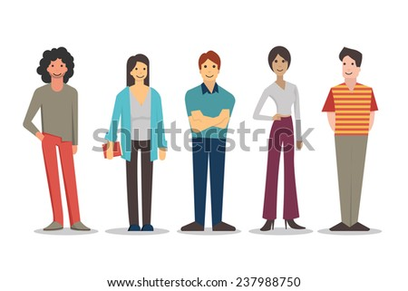 Cartoon characters of young people in various lifestyle, standing and smiling in casual dresses. Flat design, isolated on white.  - stock vector