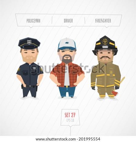 Cartoon characters policeman driver firefighter vector illustration - stock vector