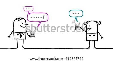 cartoon characters with tablet - message - stock vector