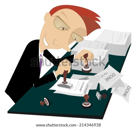 Cartoon cheerful businessman stamps on documents  - stock vector