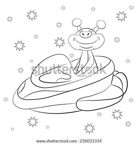 cartoon cheerful martian driving intergalactic starship taxi coloring book