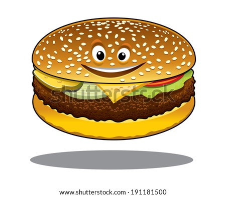 Cartoon cheeseburger logo with a happy smile and a ground beef patty, melted cheese, lettuce and tomato on a sesame bun isolated on white - stock vector
