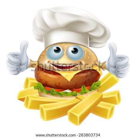 Cartoon chef burger mascot character and French fries or chips - stock vector