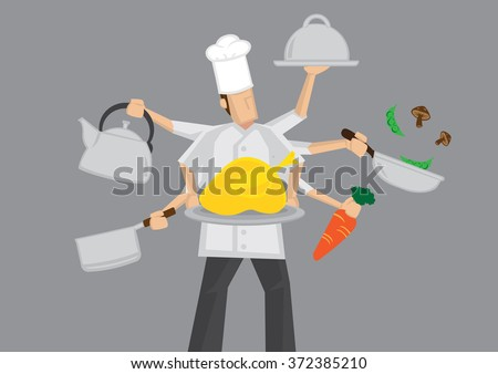 Cartoon chef character with multi-tasking with six arms holding different cooking utensils. Vector illustration isolated on grey background. - stock vector