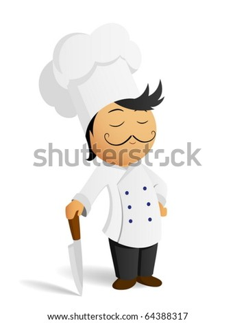 Cartoon chef cook in white hat with knife - stock vector