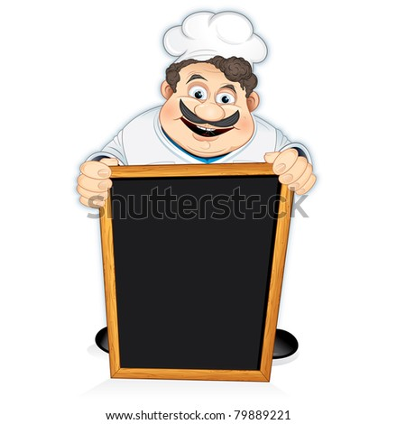Cartoon Chef Cook with blank wooden menu board, vector illustration - stock vector