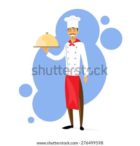 Cartoon Chef Cook with Dish Full Length Flat Vector Illustration - stock vector