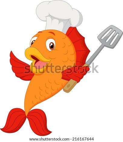 Cartoon chef fish holding spatula - stock vector