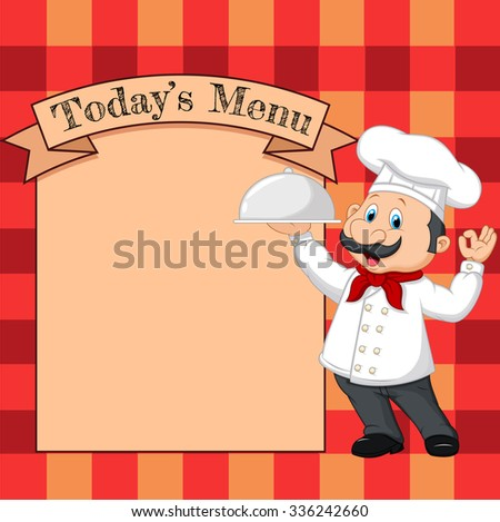 Cartoon chef holding a silver platter or cloche pointing at a banner or menu
