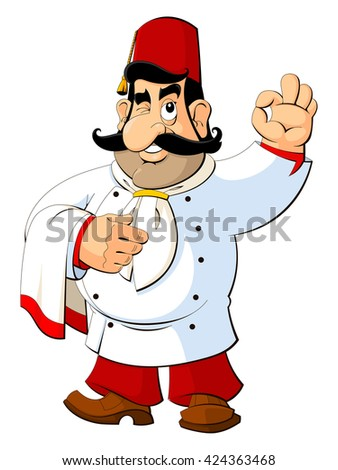 Cartoon chef in the Turkish national fez. Gesture approval.