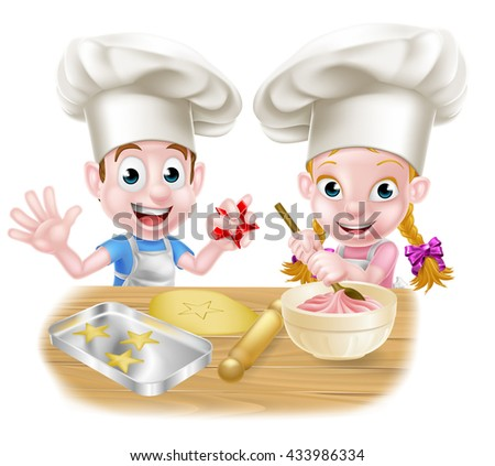 Cartoon chef kids baking cakes and cookies - stock vector