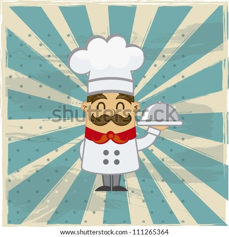 cartoon chef over grunge background. vector illustration - stock vector
