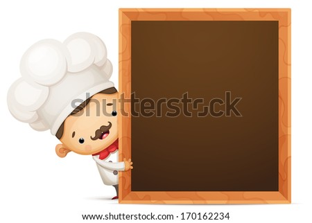 Cartoon Chef with Blank Empty Blackboard - stock vector