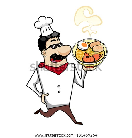 Cartoon chef with ramen bowl vector illustration.