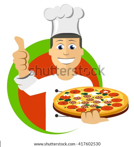 Cartoon chefs cooking, holding tray with pizza, vector illustration - stock vector