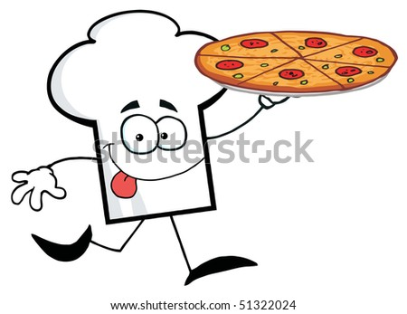 Cartoon Chefs Hat Character Holding And Running With Pizza - stock vector