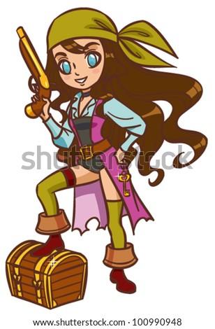 Cartoon chibi pirate girl with powder gun and treasure chest - stock vector