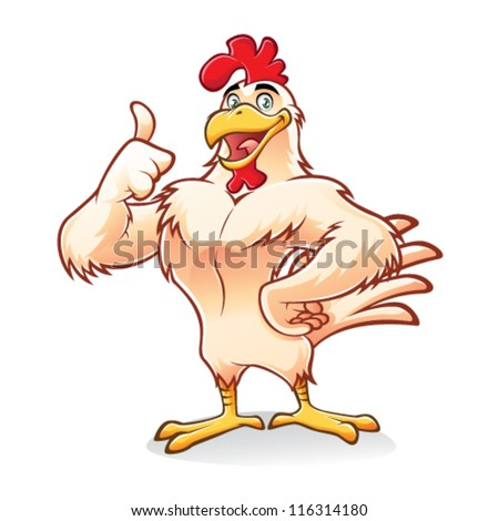 Cartoon chicken a strong and gallant was smiling thumbs-up - stock vector