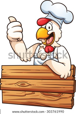 Cartoon chicken chef with a wooden sign. Vector clip art illustration with simple gradients. All in a single layer. - stock vector