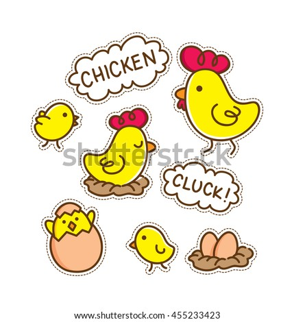 cartoon chicken patch - stock vector