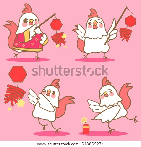 cartoon chicken with firecracker for happy chinese new year firecracker