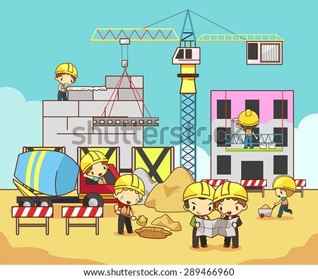 Cartoon children civil engineer, technician, and labor worker working on a construction site building (vector) - stock vector