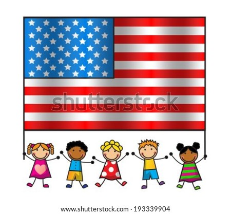 Cartoon children of different races holding an American flag - stock vector