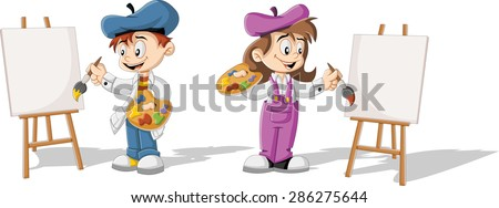 Cartoon children painting blank canvas on a wooden easel - stock vector