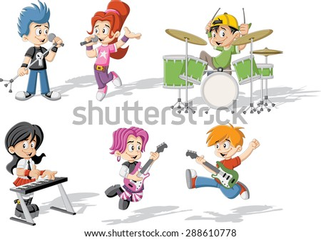 Cartoon children playing on a rock'n'roll band - stock vector