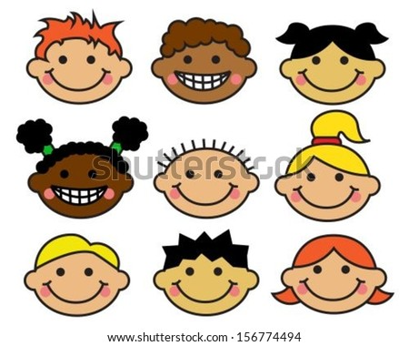 Cartoon children's faces different nationalities on a white background - stock vector