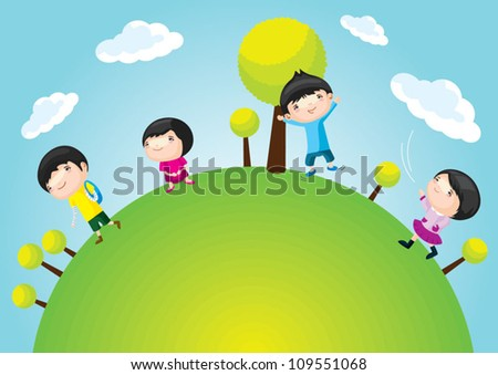 Cartoon children set with background - stock vector