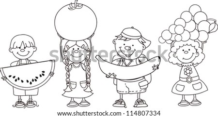 Cartoon children with fruits and vegetable - stock vector