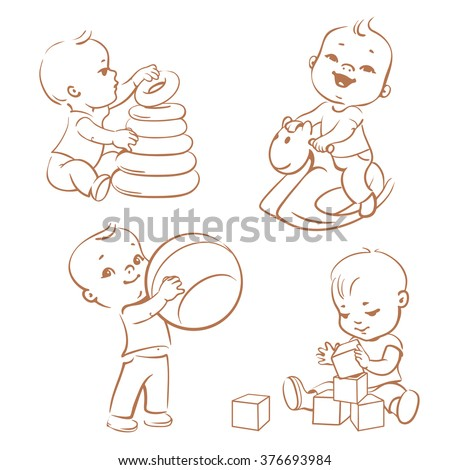 Cartoon children with toys. Little baby boy riding wooden horse. Kid with pyramid, boy holding a ball. Baby builds a house of blocks. Kids toys and games. Monochrome sketchy style vector illustration. - stock vector
