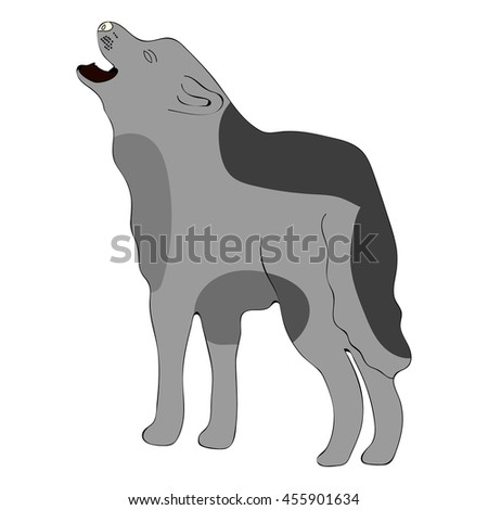 Cartoon children wolf isolated on white background. Hand drawn