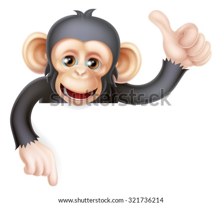 Cartoon chimp monkey like character mascot peeking above a sign giving a thumbs up and pointing down - stock vector