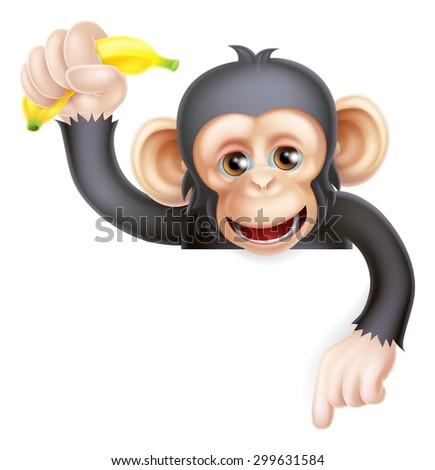 Cartoon chimp monkey like character mascot peeking above a sign holding a banana and pointing down - stock vector