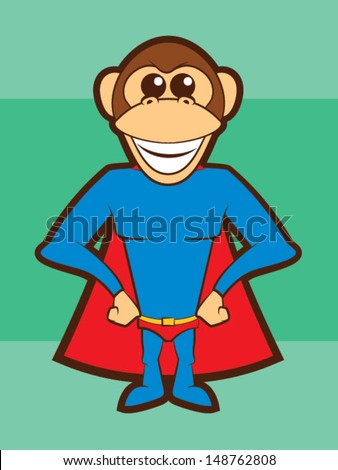 Cartoon Chimpanzee Super Hero/Super Monkey Mascot - stock vector
