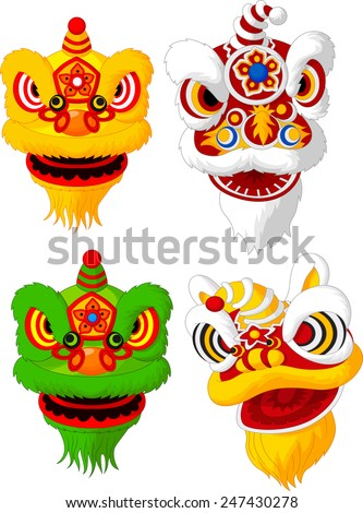 Cartoon Chinese lion head collection