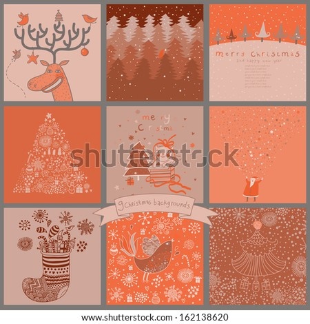 Cartoon Christmas and New Year set in pink colors. Deer with birds, Santa in forest, Snowman, holiday tree, cute cat with gifts and other funny Christmas cards and backgrounds - stock vector