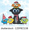Cartoon christmas cat and colorful birds with funny red hats - stock vector