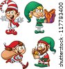 Cartoon Christmas elf characters. Vector clip art illustration with simple gradients. Each in a separate layer for easy editing. - stock vector