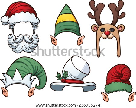 Cartoon Christmas hats. Vector clip art illustration with simple gradients. Each item on a separate layer. - stock vector