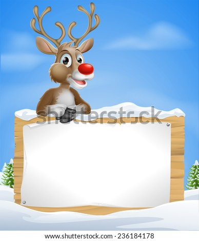 Cartoon Christmas Reindeer Sign of one of Santa�¢??s cute red nosed reindeer leaning over a snowy sign - stock vector