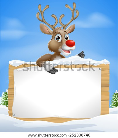 Cartoon Christmas Reindeer Sign of one of Santas cute red nosed reindeer a snow covered sign and pointing sign - stock vector