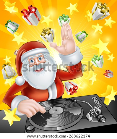 Cartoon Christmas Santa Claus DJ at the record decks with Christmas gift presents in the background - stock vector