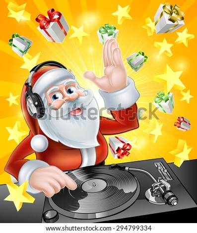 Cartoon Christmas Santa Claus DJ with headphones on at the record decks with Christmas gift presents in the background - stock vector