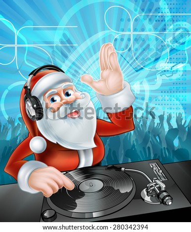 Cartoon Christmas Santa Claus DJ with headphones on at the record decks with party dancing crowd in the background - stock vector